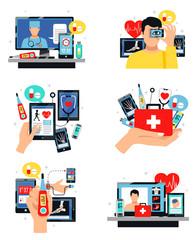 Digital Health Symbols Compositions Set