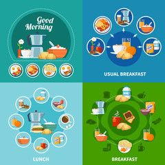 Breakfast 2x2 Icons Set