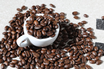 cup of black coffee grains