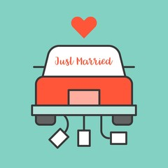 Just married sign on Wedding car, filled outline icon