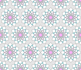 Abstract white, blue pattern geometric of Islamic, Arabesque ornament on pink background. Seamless mandala Vector illustration.
