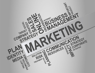 Marketing word cloud, business concept