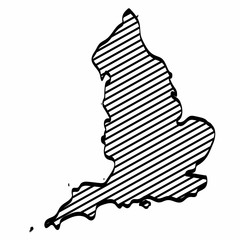 England map outline graphic freehand drawing on white background. Vector illustration.