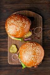Hamburgers, top view