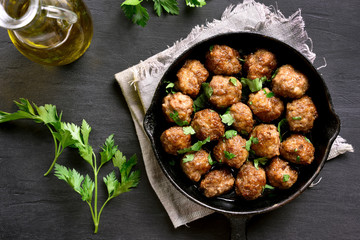Meatballs in frying pan, top view