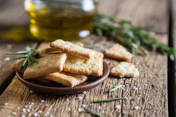 Homemade crackers with rosemary