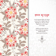 Vector card. Beautiful fantastic flower with leaves, tendrils and berries. Delicate seamless background. Motives of vintage Indian fabrics. Tree of Life collection. Place for your text