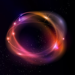 Light effects of glowing rings. Vector magic space illustration.