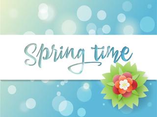 Springtime poster, greeting card, vector