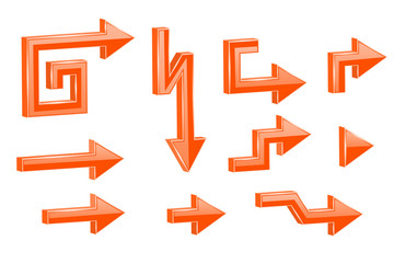 Orange shaped 3d arrows