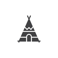 Indian tepee icon vector, filled flat sign, solid pictogram isolated on white. Wigwam symbol, logo illustration.