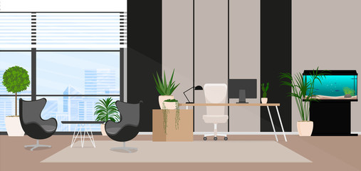 Office interior. Vector illustration.