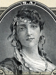Gypsy woman portrait from old Mexican money