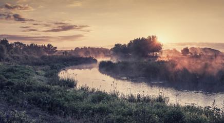 Summer vintage landscape with river