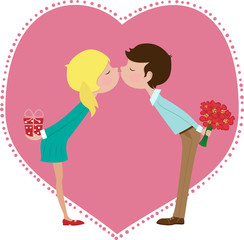 Boy and Girl Kissing - Illustration