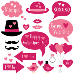 Photo booth props and speech bubbles for Valentines Day