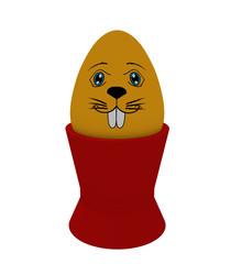 gelbes Osterei  mit Hasengesicht im Eierbecher . 3d render