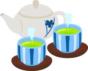 急須と湯呑みに入った緑茶