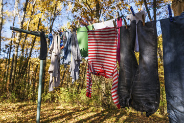 Clothes drying on a washing line