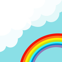 Fluffy cloud in corner. Cloudshape. Rainbow in the sky. Cloudy weather. LGBT sign symbol. Flat design. Pastel blue background. Isolated
