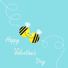 Happy Valentines Day. Flying bee kissing couple in the sky. Cute cartoon funny fat caharacter. Dash line air loop. Love greeting card. Flat design. Baby blue background