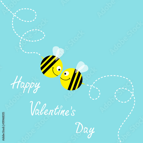 052be6d42d3e Happy Valentines Day. Flying bee kissing couple in the sky. Cute ...