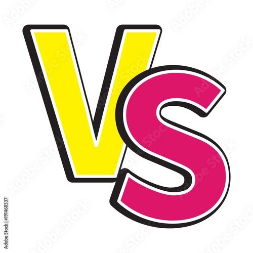 Versus Letters Icon Or VS Battle Fight Competition Sign Symbol Cute Cartoon Style Text