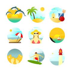 Various Summertime Travel Scenery Illustration Set