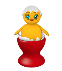 Chick sitting in an egg shell with eyes in manga style.