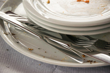 Close Up of dirty empty dishes in a restaurant