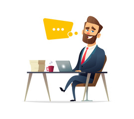 Successful beard businessman character working on a laptop computer at office desk. Business concept illustration