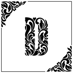 The letter D. Decorative Font with swirls and floral elements. Vintage style