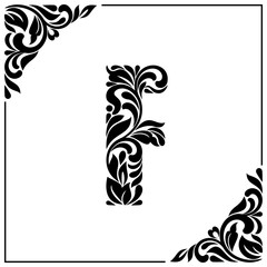The letter F. Decorative Font with swirls and floral elements. Vintage style