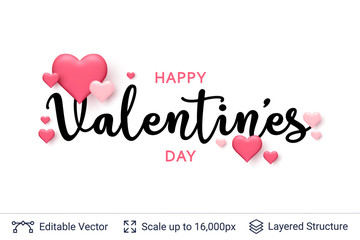 Happy Valentines day text and 3D hearts on white.