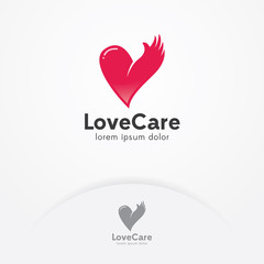 Heart and hand logo design. Heart vector symbol, emblem design. Heart with hand symbol, icon, logo template for charity, health and care - Vector illustration