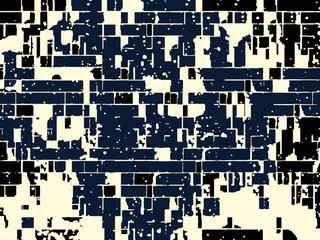 Abstract grunge vector background. Monochrome composition of irregular graphic elements.