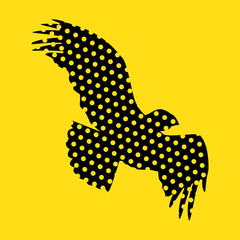 Flying bald eagle stylized silhouette. Vector illustration