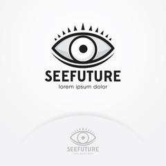 Eye logo design vector template. Eye symbol of the future. Creative vision logotype concept. Eye emblem design - Vector illustration