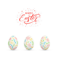 Easter eggs with colorful floral elements