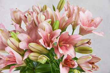 beautiful bouquet of pink lilies