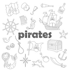 Set of contour icons on the topic of piracy and Maritime, dark  contour  icons on the  white sheet in a cage