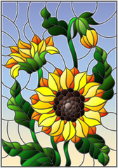Illustration in stained glass style with a bouquet of sunflowers, flowers,buds and leaves of the flower on sky background