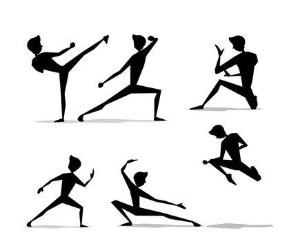 martial art man movement set silhouette cartoon