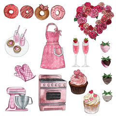 Cliparts collection - group of objects - valentine and retro kitchen and bakery set - Cupcakes, donuts, Stove, Kitchen aid...