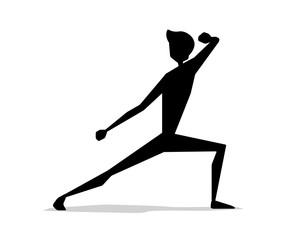 martial art man movement silhouette cartoon