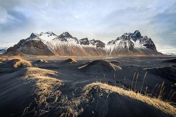 amazing wild landscape at stokksnes, iceland