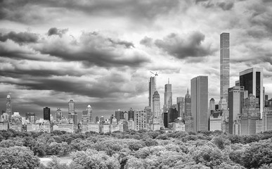 Stormy sky over the Central Park and Manhattan skyline, New York, USA.