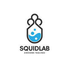 sqiud lab logo concept. Laboratory and storage logo. Unique science and bottle logotype design template.cloud technology logo, squid bio tech logo