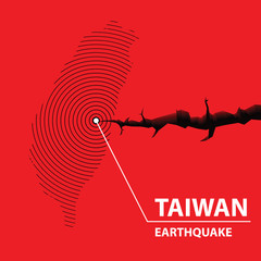 Taiwan Earthquake concept on cracked map