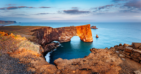 Wall Mural - Amazing black arch of lava standing in the sea. Location cape Dyrholaey, Iceland, Europe.